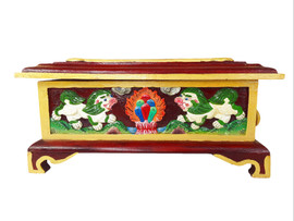 Incense Box, Carved Wooden Snow Lions, Small