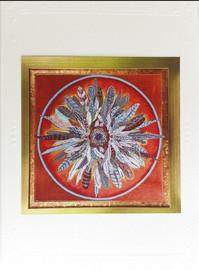 First Nature Mandala Card, Feathers