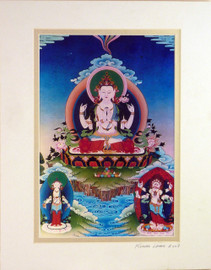 Print of Chenrezig Thangka by Kumar Lama
