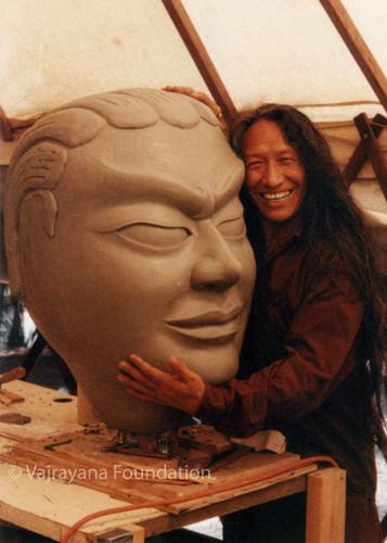 Lama Tharchin Rinpoche with Guru Rinpoche Photo