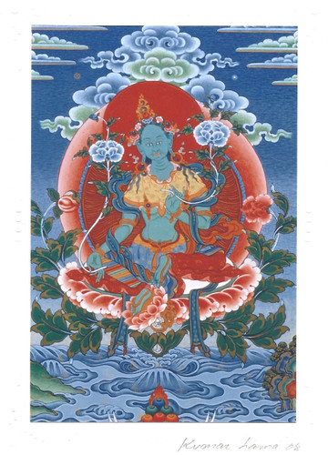 Green Tara Deity Card Print, by Kumar Lama