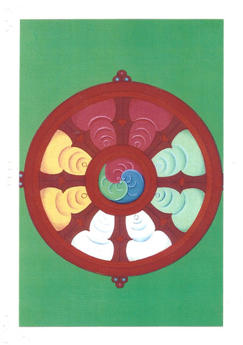 The Wheel: Eight Auspicious Symbols Card, by Kumar Lama