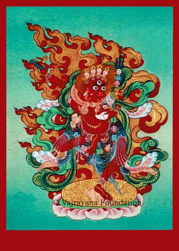Seng Dongma, Lion Faced Dakini (Red Face) 5x7