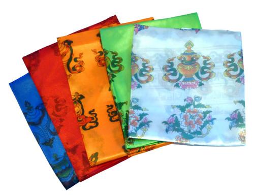 Colored Khata Printed with Auspicious Symbols