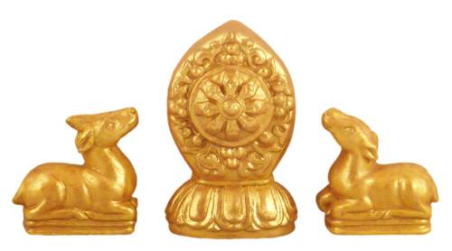 Golden Painted Wheel and Deer Tsa Tsa Set