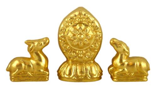 Gold Gilded Wheel and Deer Tsa Tsa Set