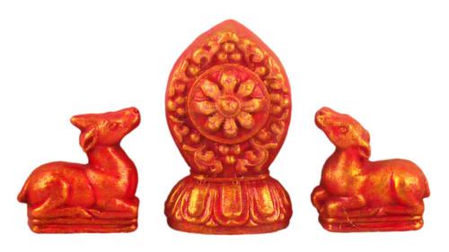 Red & Gold Painted Wheel and Deer Tsa Tsa Set
