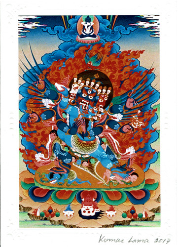 Vajrakilaya Deity Card Print, by Kumar Lama (Colorful)