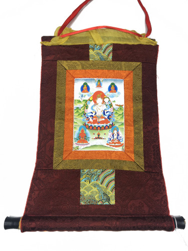 Mini White Tara Print Thangka