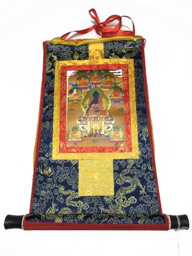 Mini Golden Medicine Buddha Print Thangka
