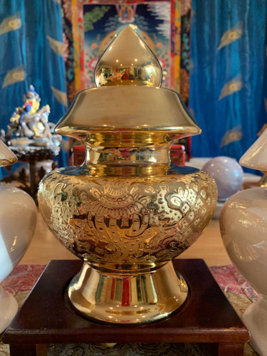 8 Auspicious Gold Treasure Vase with 24 Karat Gold Glaze