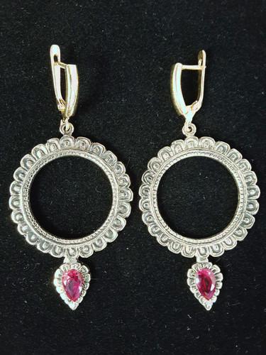 """Dakini Earrings, Brass/Red 1.75"""""""