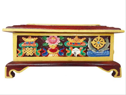 Incense Box, Carved Wooden Auspicious Symbols, small