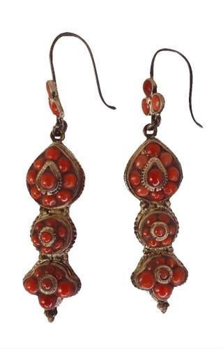 Coral Nepalese Earrings