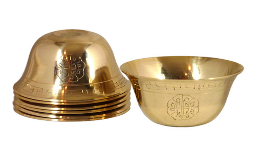 Set of Seven Etched Brass Offering Bowls