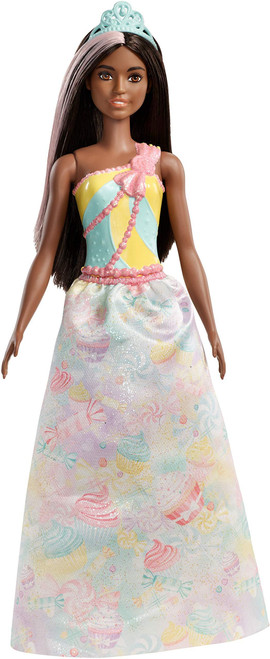 Barbie Dreamtopia Princess Doll, approx 12-inch, Brunette with Pink Hairstreak, Wearing Colorful Candy-Inspired Outfit