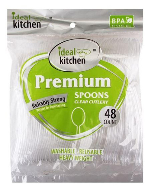 Ideal Kitchen Plastic Spoons, Clear, 48 ct