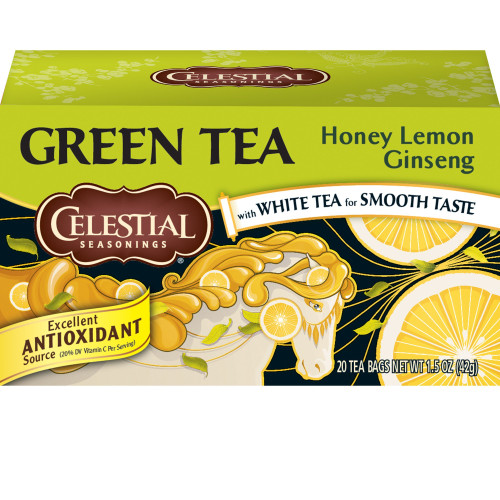 Celestial Seasonings Green Tea Bags, Honey Lemon Ginseng, 20 Tea Bags