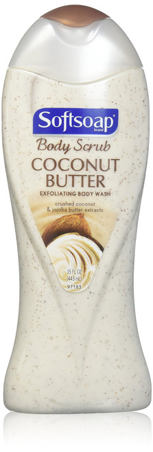 Softsoap Body Wash Coconut Butter Scrub, 15 oz