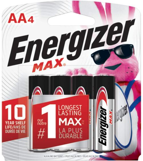 Energizer Max Alkaline AA Batteries, 4 Count