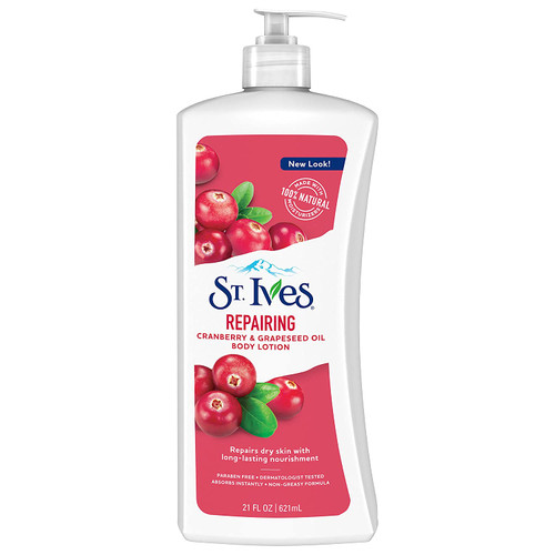 St Ives Body Lotion, Repairing, Cranberry & Grapeseed Oil, 21 oz
