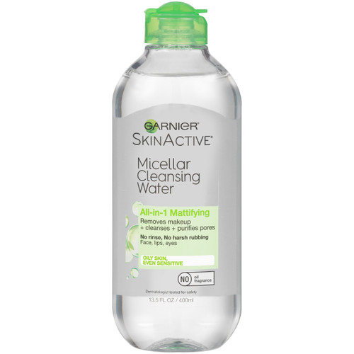 Garnier SkinActive Micellar Cleansing Water for Oily Skin, All-in-1 Mattifying, 13.5 Oz