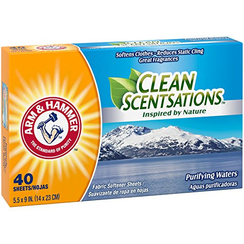 Arm & Hammer Clean Sensations Fabric Softener Sheets, Purifying Waters, 40 Sheets