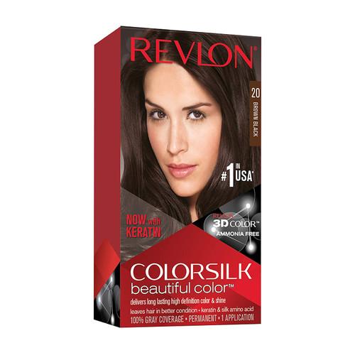 Revlon ColorSilk Hair Color, Brown/Black, #20