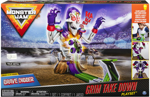 Monster Jam Grim Take-down Playset with Exclusive Die-Cast Grave Digger Monster Truck