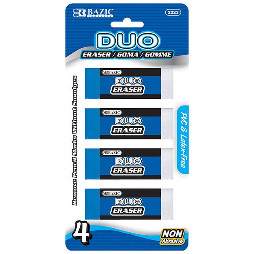 Bazic Two-Tone Vinyl Erasers, 4 Pack