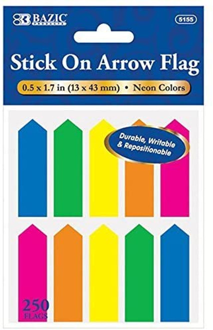 Bazic Stick-On Bookmark Flags, .5 x 1.7 in, 250 Flags