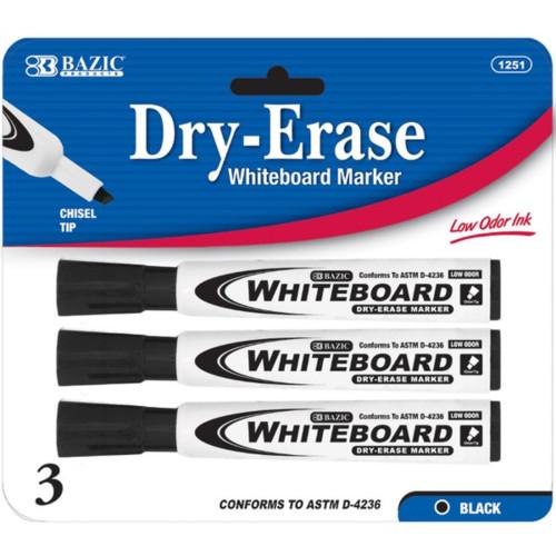 Bazic Black Chisel Tip Dry-Erase Markers, Black, 3 Markers