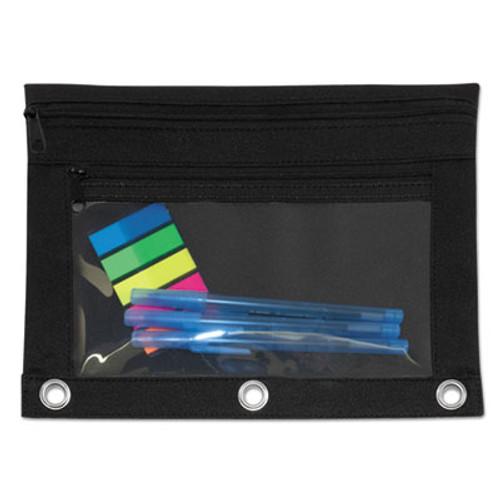 Binder Pouch with PVC Pocket, 9 1/2 x 7, Black