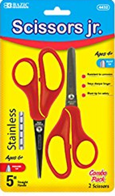 "BAZIC 5"" Blunt & Pointed Tip School Scissors, Assorted Colors, 2 Pack"