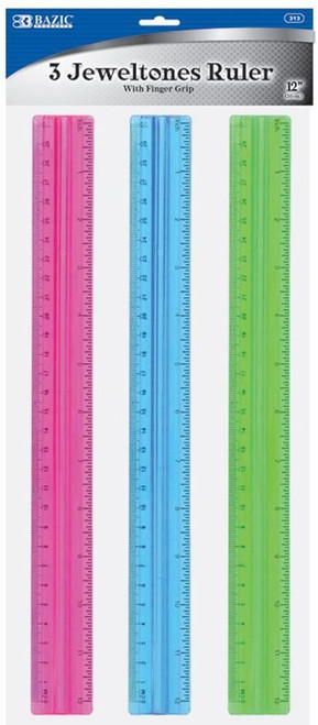 Bazic Jeweltones Rulers with Finger Grip, Assorted Colors, 3 Rulers