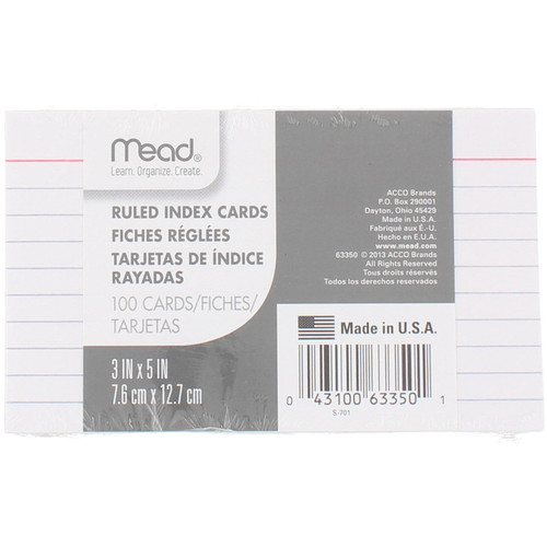 Mead Index Cards, Ruled, 3in X 5in, 100 Ct