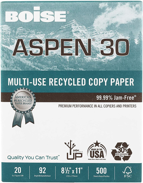 Boise Aspen 30 Copy Paper, 92 Bright, Recycle, 500 Sheets