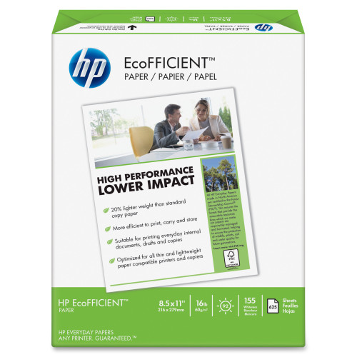 HP EcoFFICIENT Paper, 92 Brightness, 16lb, 8 1/2 x 11, White, 625 Sheets