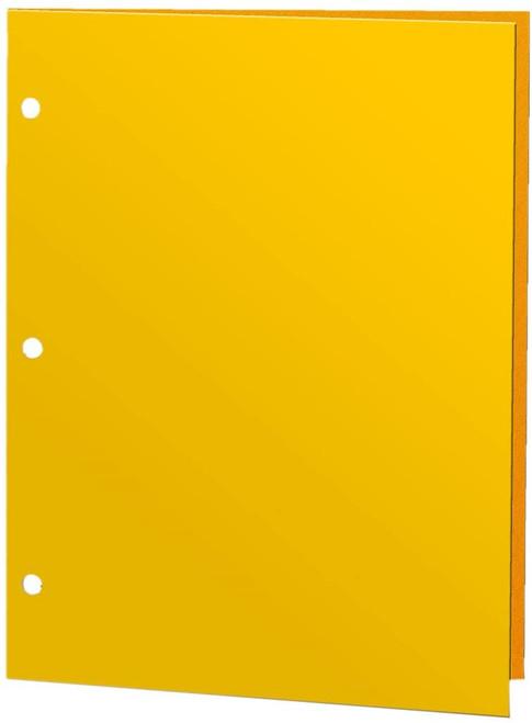 Promarx 2-Pocket 3-Hole Punch Glossy Portfolio Folder, Yellow