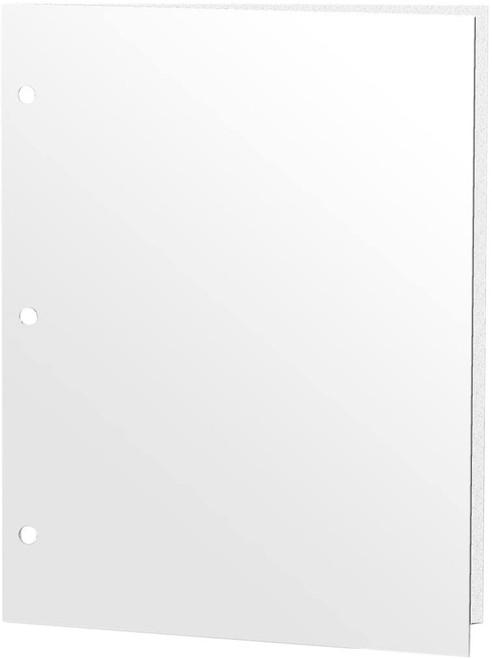 Promarx 2-Pocket 3-Hole Punch Glossy Portfolio Folder, White