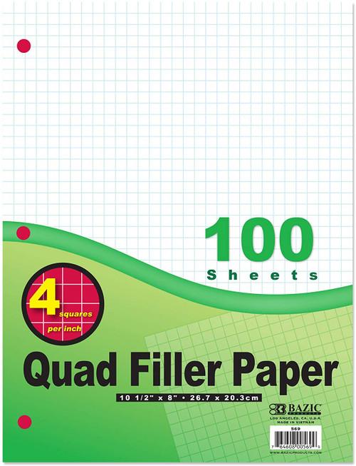 """Quad-Ruled Filler Paper, 4-1"""", 100 Sheets"""