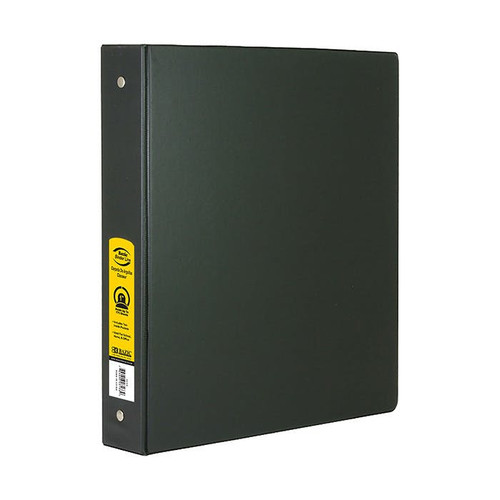 "3-Ring Binder w/ 2-Pockets, 1"", Black"