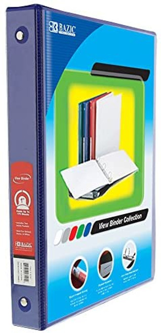 "3-Ring Binder w/ 2-Pockets, 1"", Blue"