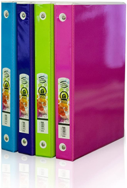 "3-Ring Tinted View Binder with 2 Pockets, 1"", Assorted Colored Tinted Films"