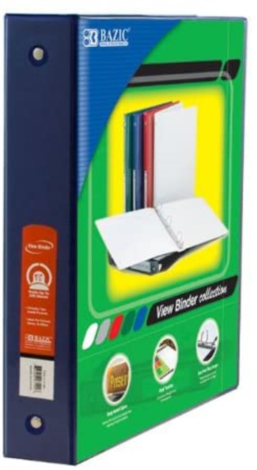 "3-Ring View Binder w/2-Pockets, 1.5"", Blue"