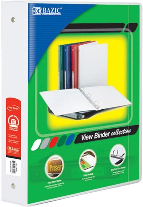 "3-Ring View Binder w/2-Pockets, 1.5"", White"