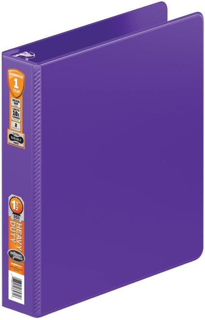 Wilson Jones Heavy Duty Round Ring Binder with Extra Durable Hinge, 1.5-Inch, Purple