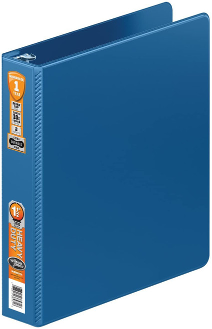 Wilson Jones Heavy Duty Round Ring Binder with Extra Durable Hinge, 1.5-Inch, Blue