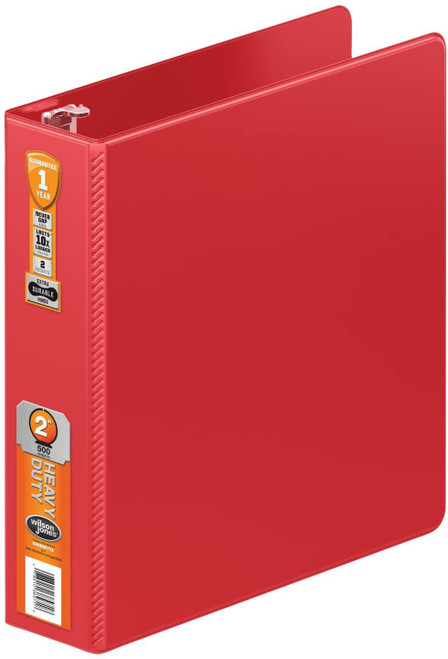 Wilson Jones Heavy Duty Round Ring Binder with Extra Durable Hinge, 2-Inch, Red