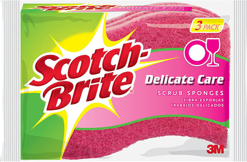 Scotch-Brite Delicate Care Scrub Sponge Pack, 3-Sponges